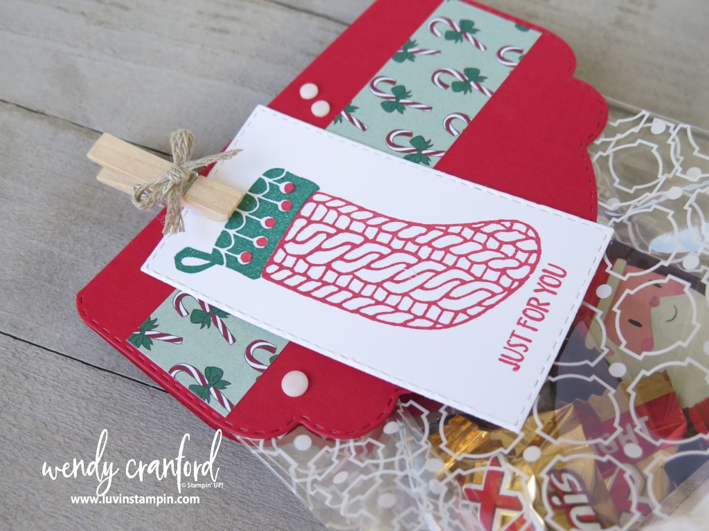 Christmas gift bag topper featuring Stampin' UP! products.