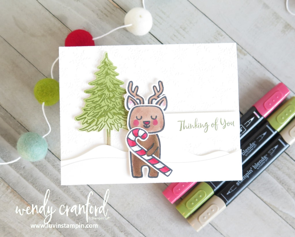 Christmas card with Menagerie Mix Up bundle and In The Pines bundle from Stampin' UP