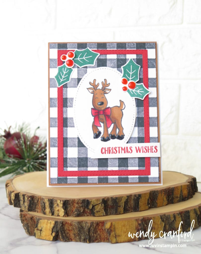 Buffalo check reindeer card featuring Stampin' UP! Warm & Toasty