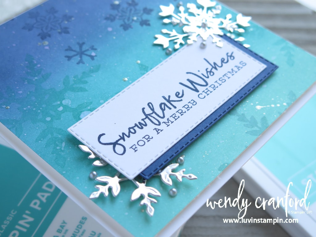 Fun ink blended background using the Snowflake Wishes Bundle from Stampin' UP!