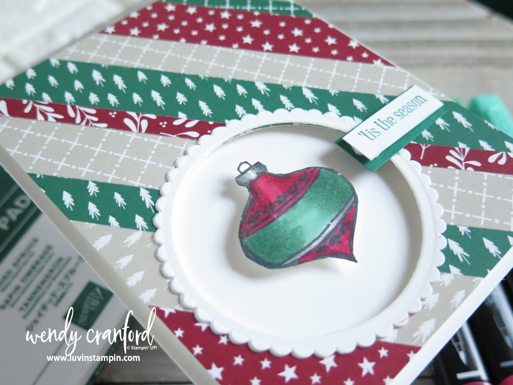 Peek A Boo Christmas card featuring Tag Buffet stamp set from Stampin' UP!