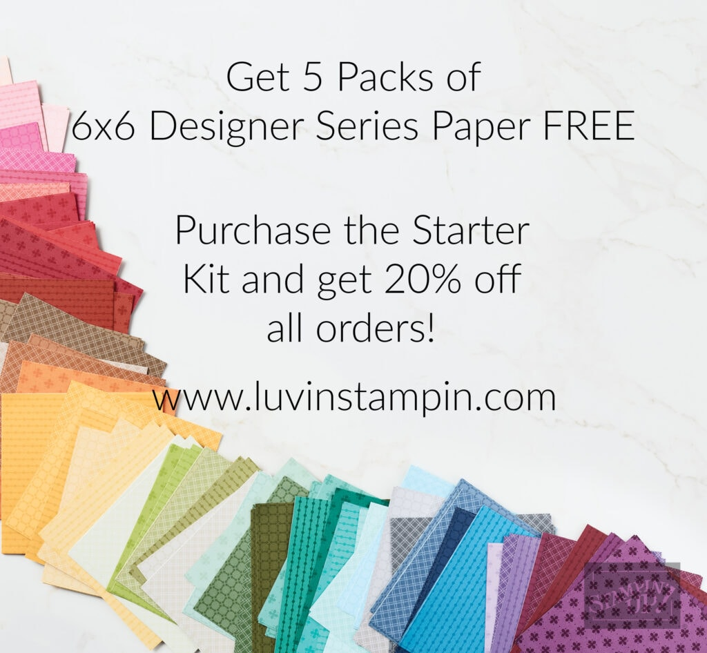 Get 5 free packs of Designer Series Paper when you purchase the Stampin' UP! starter kit.