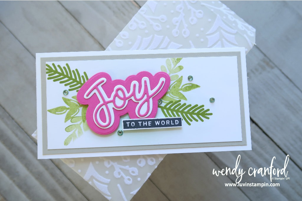 Peace and Joy bundle from Stampin' UP! Slimline mini card