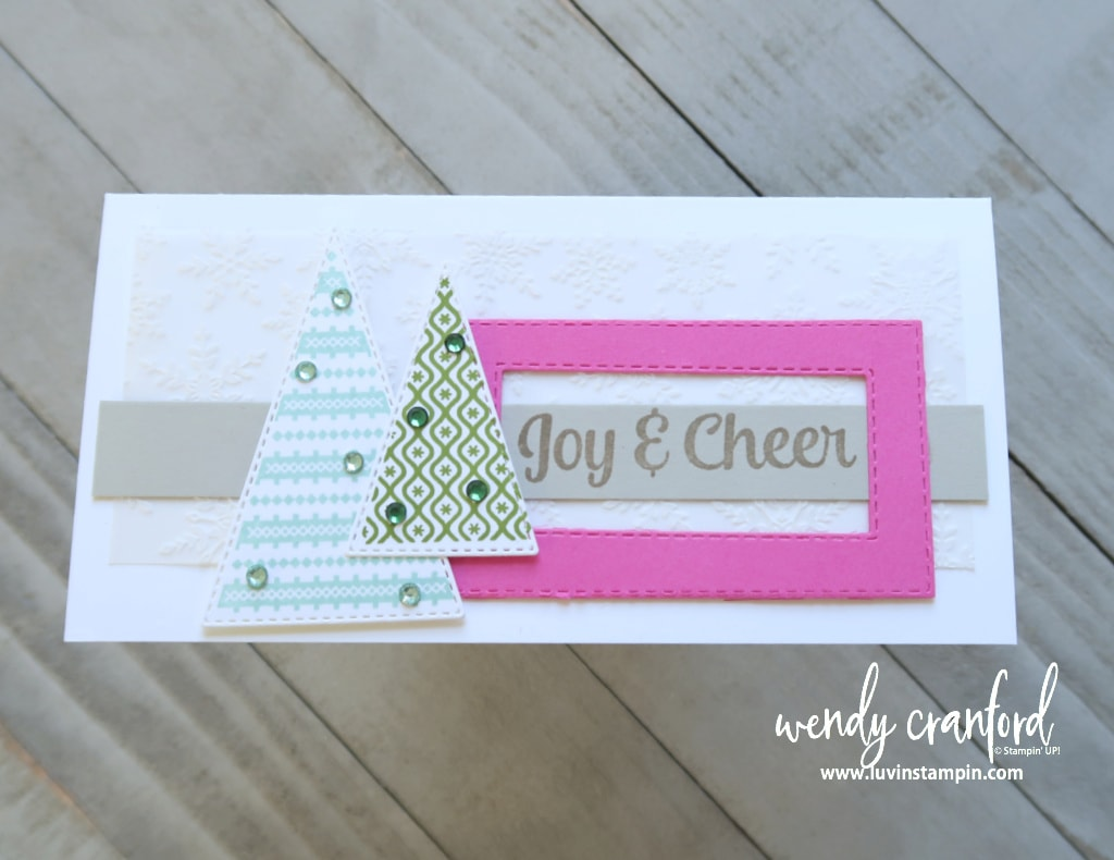 Fun Christmas card using the Tree Angle Stampin' UP! set for a slimline card