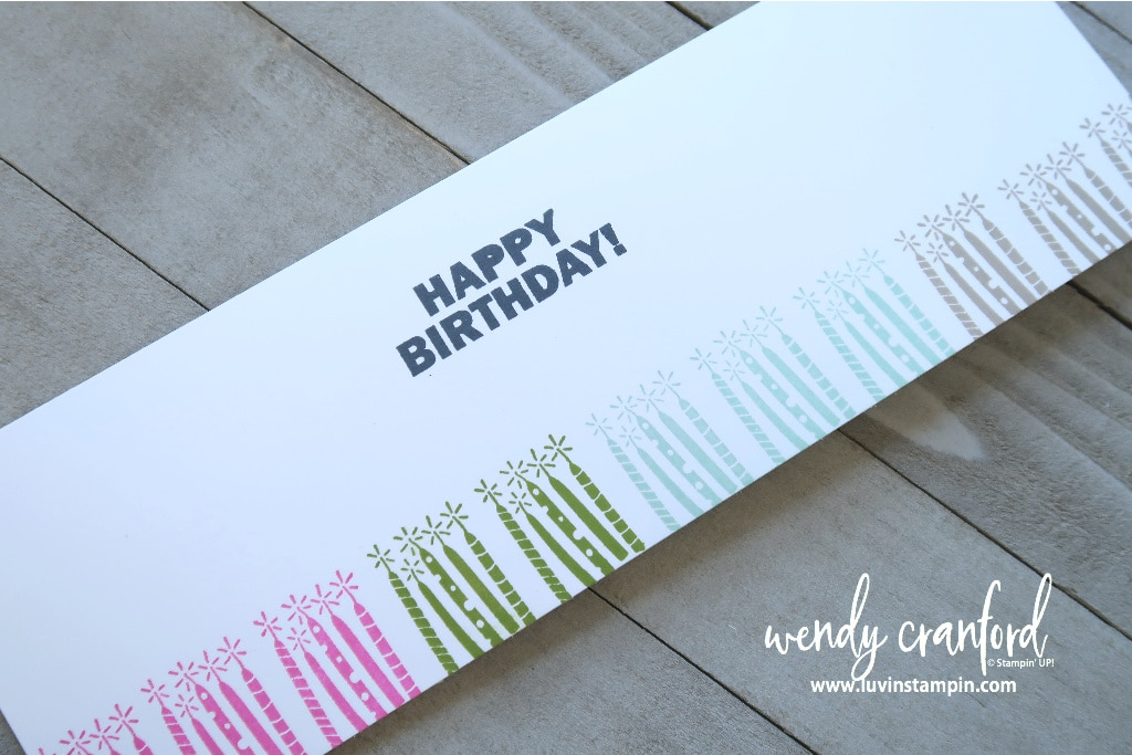 New Sale A Bration stamp set from Stampin' UP! to create a super slimline and border stamp