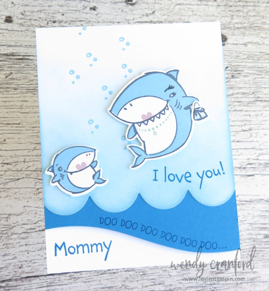 I love you card using Shark Frenzy Bundle from Stampin' UP!