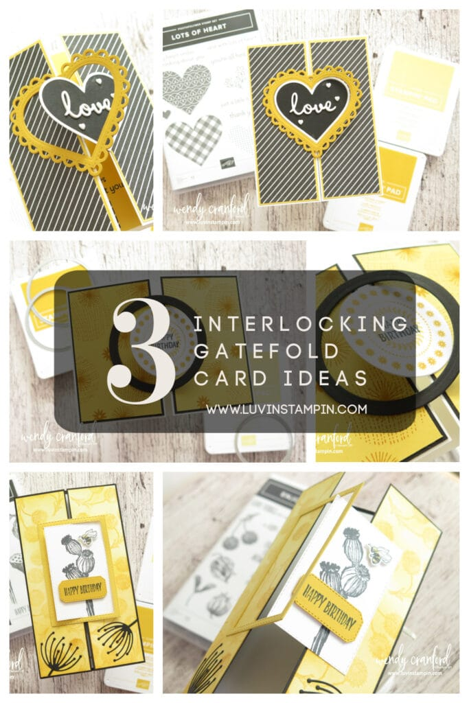 3 Interlocking gatefold card ideas using 1 color combination