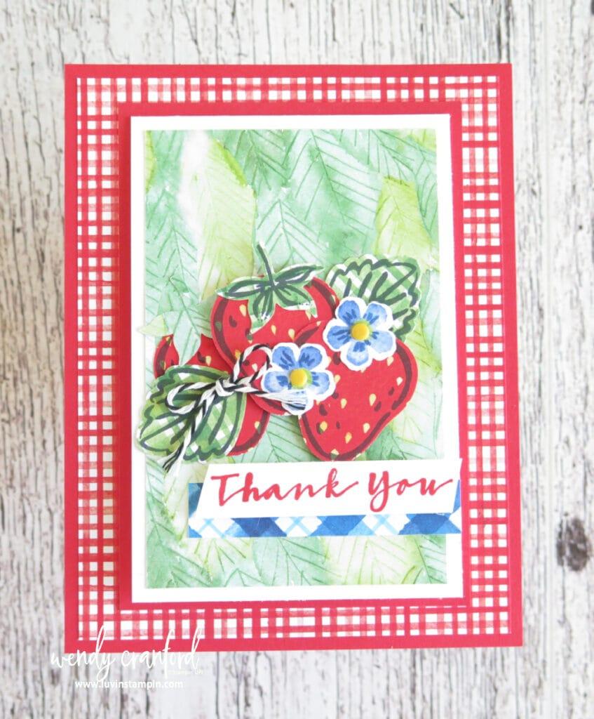Sweet Strawberry bundle fun fold card, details on blog