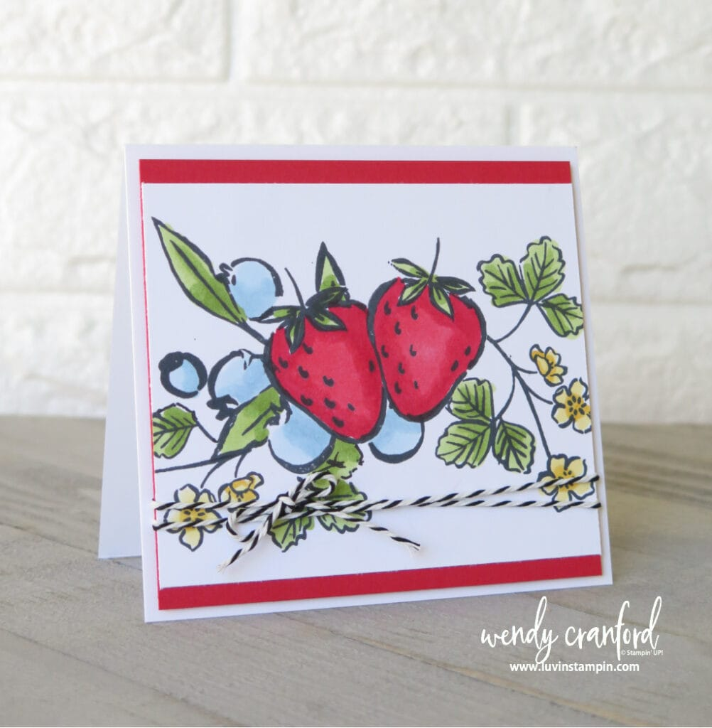 Mask and color to make adorable sweet strawberry cards