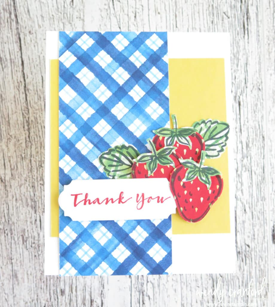 Simple and fun card using the Sweet Strawberry Bundle from Stampin' UP!