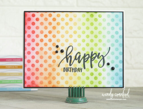 Ink blended rainbow birthday card featuring Stampin' UP! products
