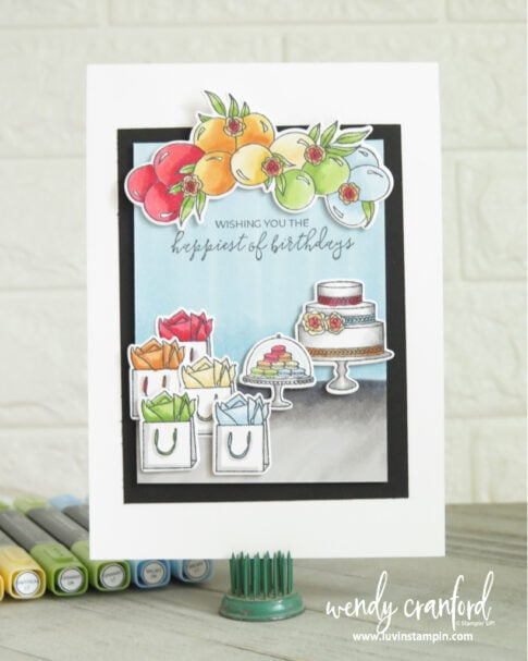 Rainbow birthday card using the Stampin' Blends
