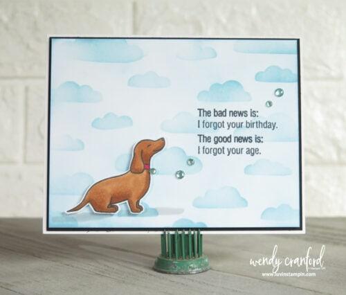 Hot dog birthday card for friend.
