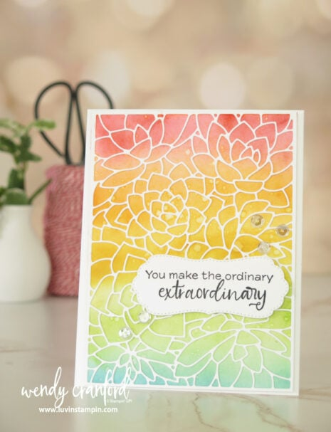 Ink blended background and die cut background dies. Features the Simply Succulent Bundel