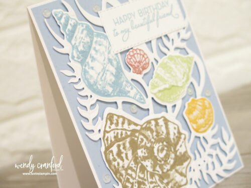 Embossed and stamped seashell card