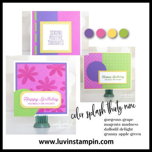 Color Splash Thirty Nine. Fun and bright color combination for cardmaking in the spring and summer