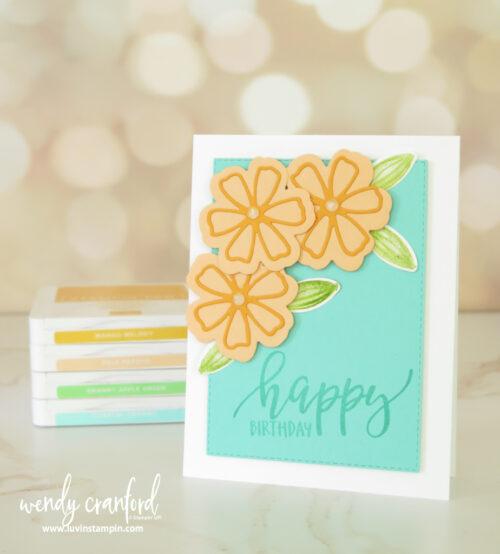 Fun and bright birthday card with Pretty Perennials