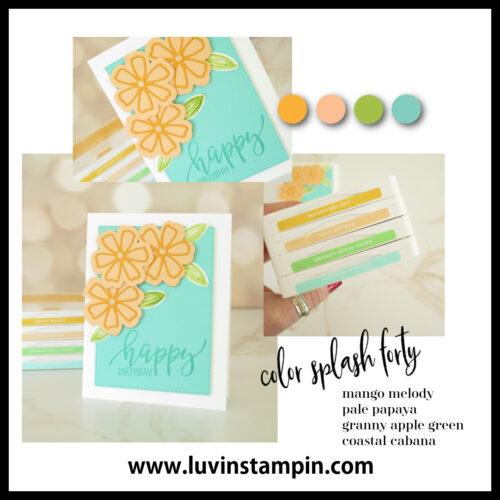 Color Splash Forty Color inspiration using Stampin' UP! colors