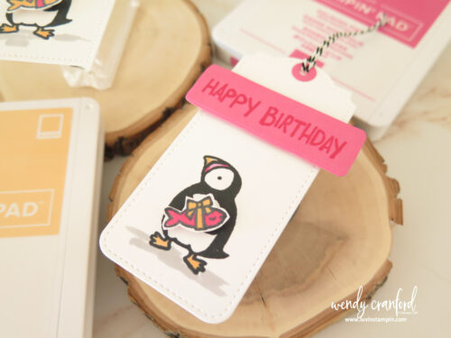 Color the Party Puffins images with new Stampin' Blends with Pale Papaya and Polished Pink