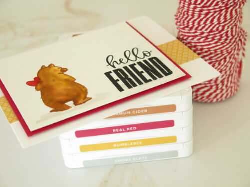 Create a beautiful hello friend card using Count On Me stamp set