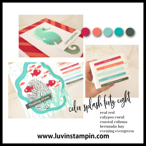 Stampin UP! Seascape card with die cut inlay technique and Color Splash 48.