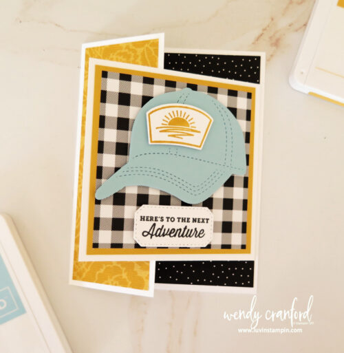 Fun Fold card using the Hats of Bundle from Stampin UP