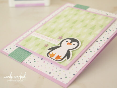 Penguin Place Bundle from Stampin UP! with Penguin Playmates designer series paper. Color Splash 53