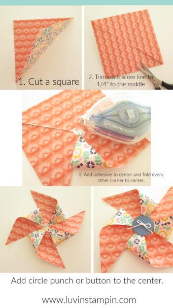 How to make a paper pinwheel using designer series paper.