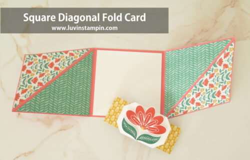 Square Diagonal Fold Card using the In Symmetry stamp set