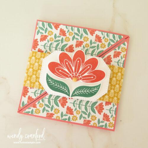 Square diagonal fold card using the Sweet Symmetry designer series paper