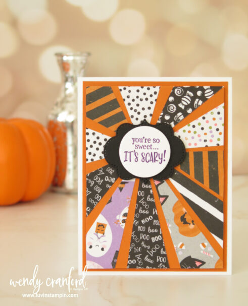 How to make a starburst card using designer series paper from Stampin' uP!